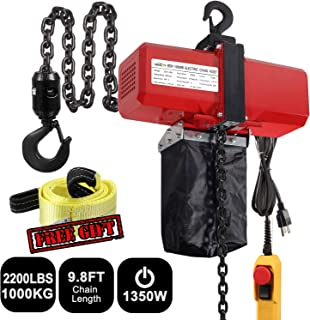 Partsam 1 Ton Industrial Electric Chain Hoist Single Phase 2200LBS 10ft Lift Height Overhead Crane Winch Hook Mount G80 Chain Hoist Lift Electric Hoist Double Chain with Pendant Control (1Ton, 110V)