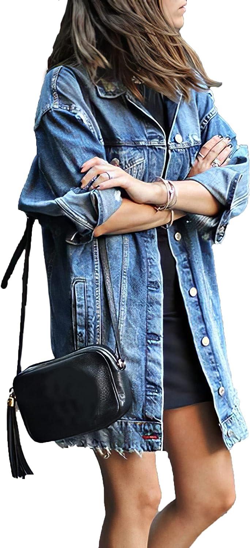 Akivide Women's Jean Jacket Long Sleeve Classic Oversize Distressed Denim Trucker Jackets