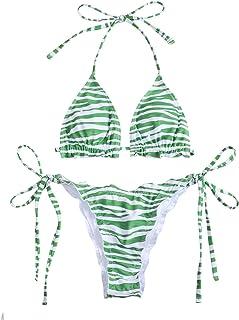 SOLY HUX Women's Zebra Print Halter Triangle Tie Side Bikini Set Two Piece Swimsuits Green L