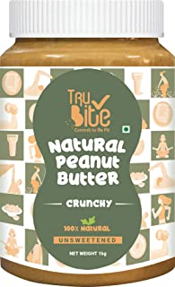 Trubite Natural Peanut Butter (Crunchy) (1kg) | Unsweetened | 30g Protein | Non GMO | Gluten Free | Cholesterol Free