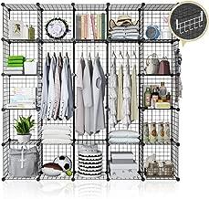 YOZO Modular Wire Cube Storage Wardrobe Closet Organizer Metal Rack Book Shelf MultiFuncation Shelving Unit, 25 Cubes, Depth 14 inches, Black