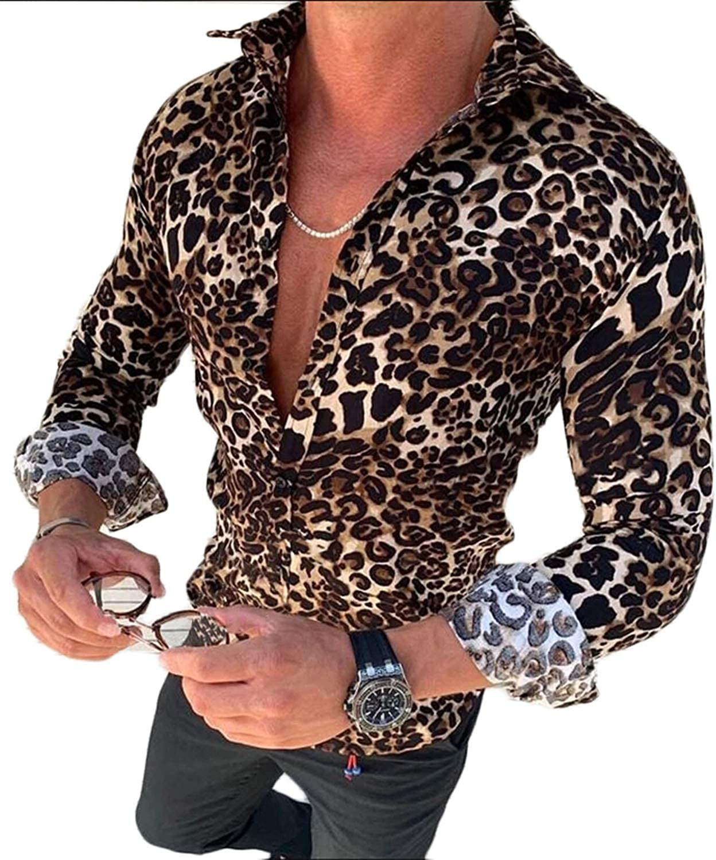 Emescvya Men's Leopard Print Dress Shirt Long Sleeve Casual Slim Fit Button Down Shirts Blouse Top Tee Plus Size