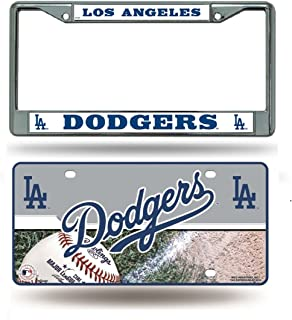 Rico Industries Los Angeles Dodgers Chrome License Plate Frame & Dodgers Metal Tag License Plate
