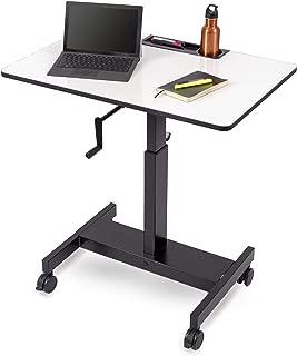 Single Column Crank Adjustable Stand Up Desk (Charcoal Frame/Whiteboard Top, 36