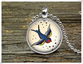 Necklaces Pendants Accessories Jewelry necklace pendant tattoo swallow bird sailor jerry inage sailor jewelry sailing pendant sailing jewelry bird necklace tattoo bird pendant silver pend