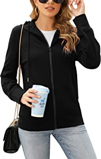 Womens Full Zip Casual Hoodies Top Activewear Pullover Sweatshirts with Pockets