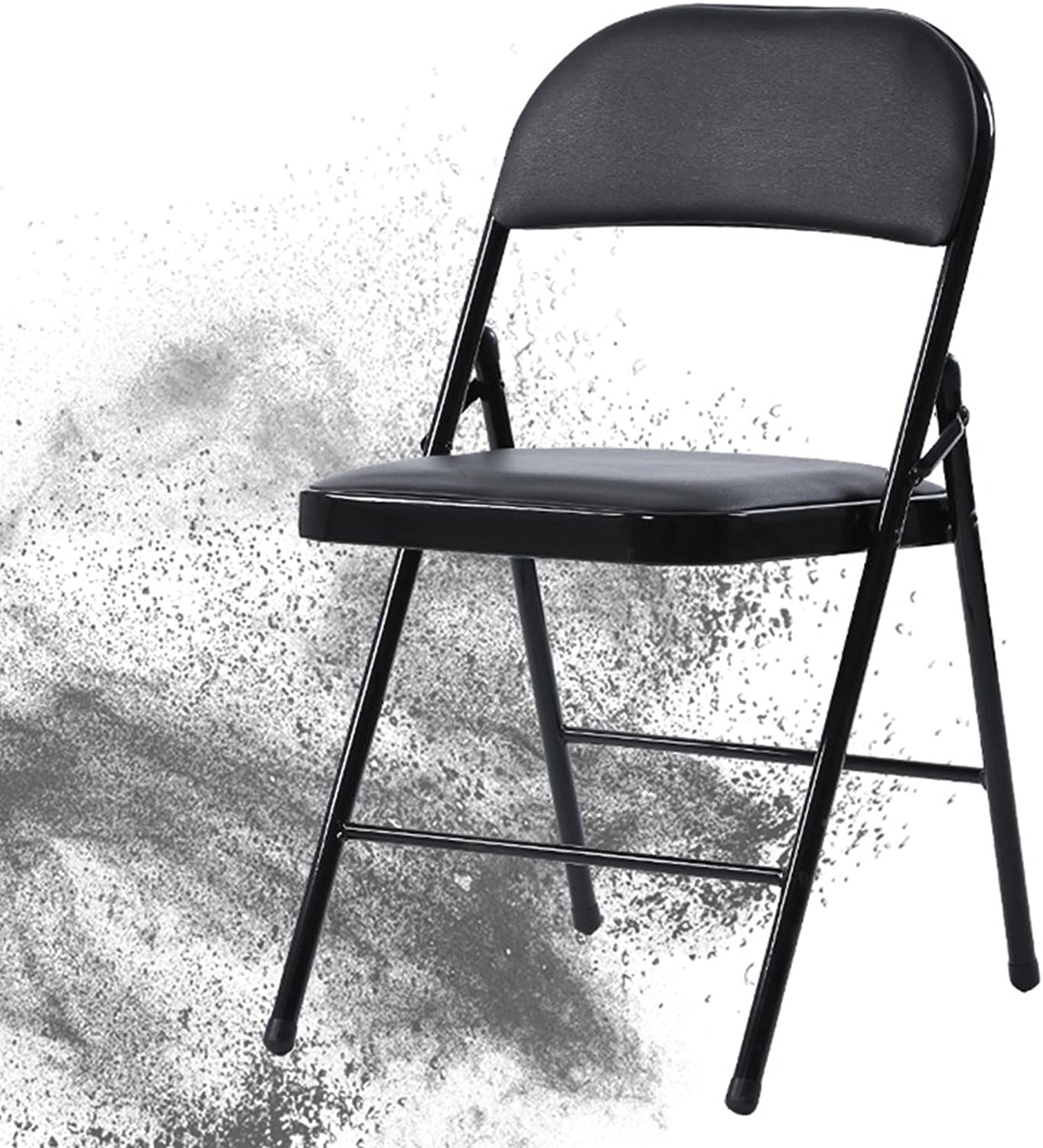 Chairs Folding Chair Simple Portable Chair backrest Adult Dining Chair Home Living Room Chair Plastic Stool Meeting Chair color Stool Computer Chair (color   Black, Size   44  46  76cm)