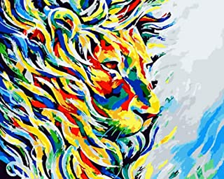 wanghan Painting by Number Frameless Oil Painting by Digital Paint by Number for Home Decoration Oil Painting Picture 40X50 Colorful Lion King