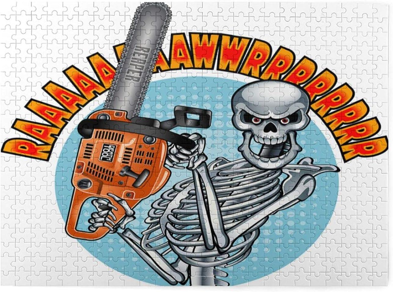 Rompecabezas de 500 piezas,esqueleto humano sonriente con motosierra,juego de rompecabezas familiar grande,ilustraciones para adultos y adolescentes