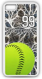 iPhone 6s Softball Case Fits iPhone 6s or iPhone 6 Build Your Own Design Cell Phone Case with Any Jersey Number Team Name in White Rubber S1084 by TYD Designs