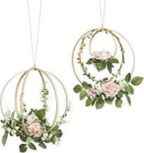 Ling's moment Floral Wreaths Set of 2 Blush Rose Wreaths for Wedding Backdrop Hanging Decor
