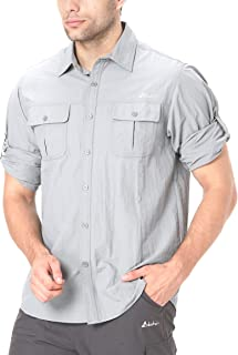 Men's Roll-Up Long Sleeve Vented Shirt - Lightweight Cooling Quick-Dry