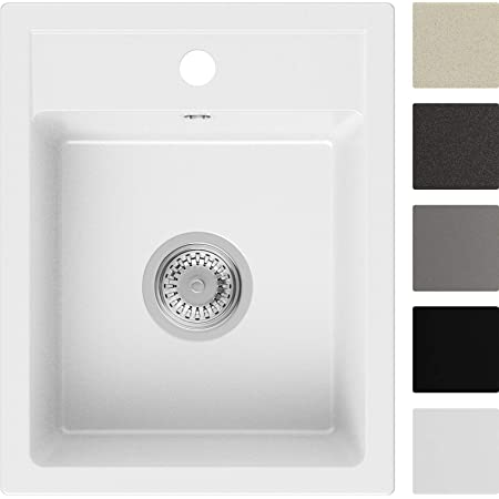 Évier de Cuisine en Granit Blanc, 40 x 50 cm, Lavabo 1 bac + Siphon Classique, 5 couleurs et option antibactérienne, Évier à Encastrer de Primagran
