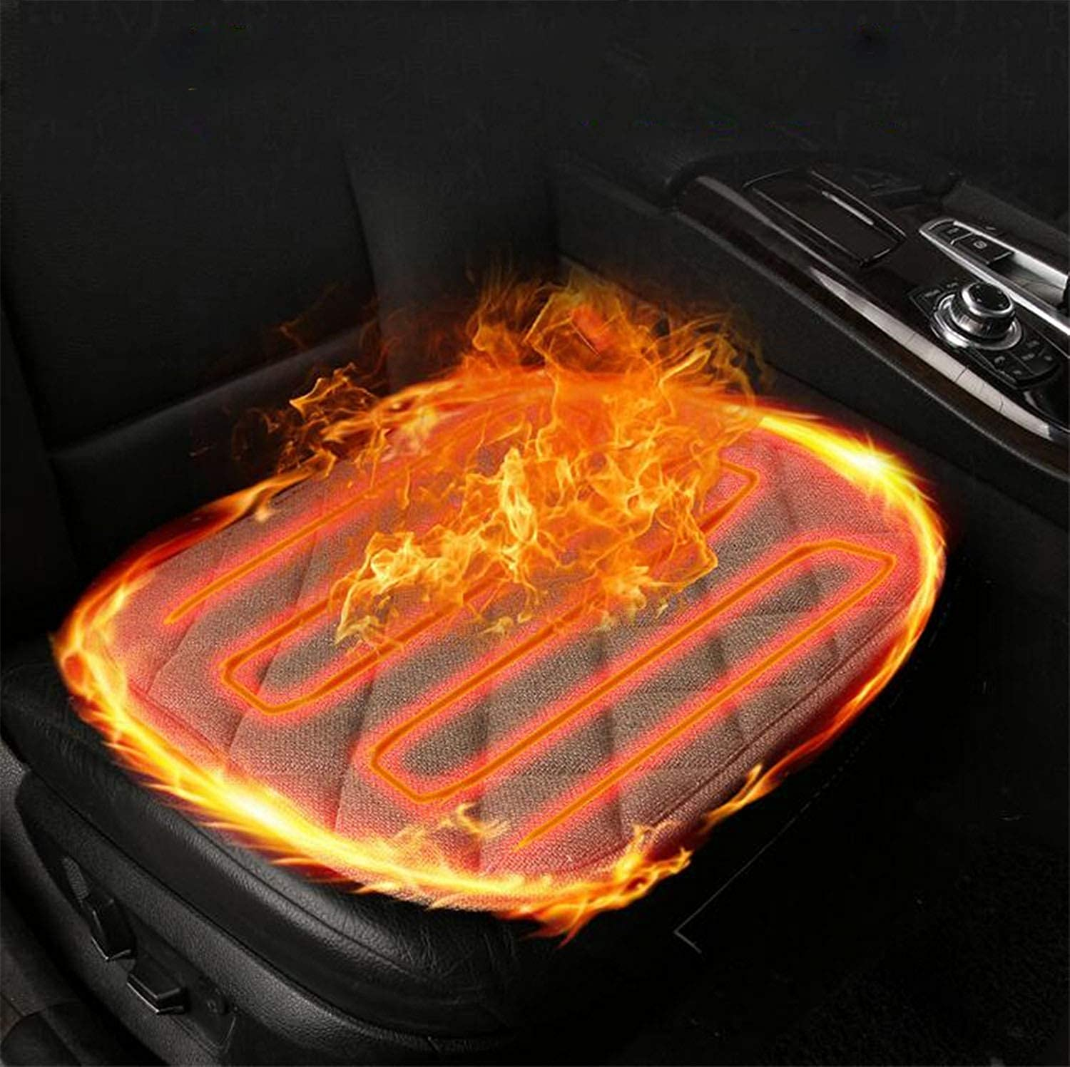 Car Heated Seat Cushion Hot Seat Cover Home Winter Warmer Pad Car Supplies 12V Universal Heat Pad Office Winter Mat Ideal for Coming Cold Winter Days (48  51cm)2pcs