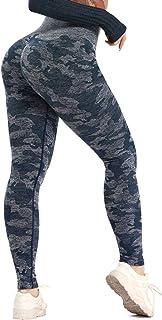 Women Seamless High Waist Tummy Control Yoga Pants Butt Lift Push Up Leggings Camo Workout Gym Tights Blue, Large