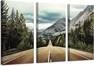 Nature Mountain Artwork Painting Pictures: Landscape Road to Cloudy Rocky Mountain and Pine Trees Canvas Wall Art for Living Room (26''X16''x3panels)