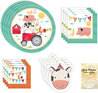 Barnyard Birthday Party Supplies, Cute Farm Theme Design, 16 Guests, 65 Pieces, Disposable Paper Dinnerware, Plate and Napkin Set