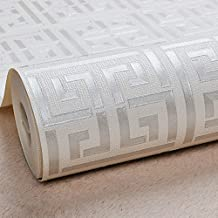 BIGKAM Gold Greek Key Pattern White Wallpaper Modern Geometric Metallic Vinyl Wall Paper Roll Teal,Black,Silver,Rose Gold