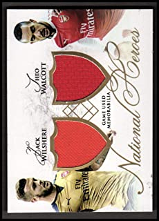 2016-17 Arsenal Futera Unique National Heros Dual Memorbilia #NH05 Jack Wilshere Theo Walcott Jersey /29 - NM-MT