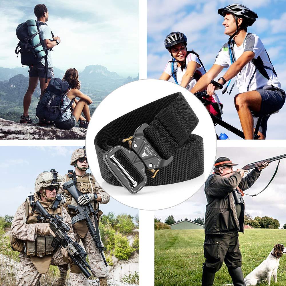 APERIL Cinturón Táctico Militar Ajustable Cintura Hombres Lona Nylon Hebilla de Metal para Entrenamiento de Caza Ejército Que se Ejecuta: Amazon.es: Deportes y aire libre
