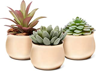 3 Piece Mini Curved Shiny Iridescent Copper Rose Gold Ceramic Succulent Planter Pot Set