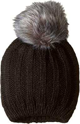 48bd17c3769 Plush fleece lined faux fur pom pom hat black