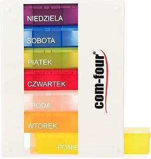 COM-FOUR® tablettendoos 7 dagen met Poolse inscriptie (Poniedzialek - Niedziela) - medicijndoos 4 compartimenten (rano, po...