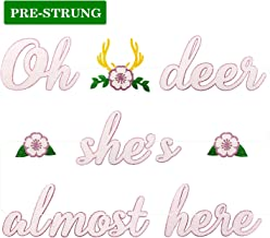 Deer Baby Shower Banner Oh Deer She's Almost Here Banner with Deer Antler and Flowers Boho Floral Themed Party Decor Woodland Animal Baby Shower Pink and White Decoration Homemade