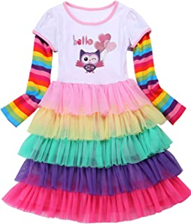 Unicorn Rainbow Birthday Toddler Little Girls Dresses Flamingo Party Outfit for Girl Clothes