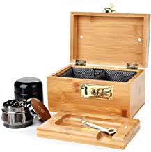 Stash Box Combo - Accessories Kit, Locking Bamboo Box with Grinder, UV Glass Stash Jar, Bamboo Box with Lock