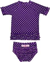 RuffleButts Baby/Toddler Girls Rash Guard Short Sleeve 2-Piece Swimsuit Set - Polka Dot Bikini with UPF 50+ Sun Protection