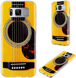 S8 Case,S8 Case for Girls,VoMotec Shockproof Anti-Scratch Slim Flexible Soft TPU Rubber Full Protective Shell Cover Cases for Samsung Galaxy S8,Funny Music Design Yellow Acoustic Guitar