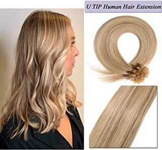 U Tip Human Hair Extensions Pre Bonded Nail Tipped Real Human Hair Piece Italian Keratin Ombre U Tip Fusion Extensions Silky Straight 100 Strands 18
