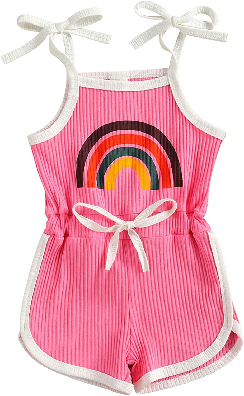 Toddler Elegant Baby Girl Limited Special Price Straps Rainbow Ribbe One Piece Jumpsuit Romper
