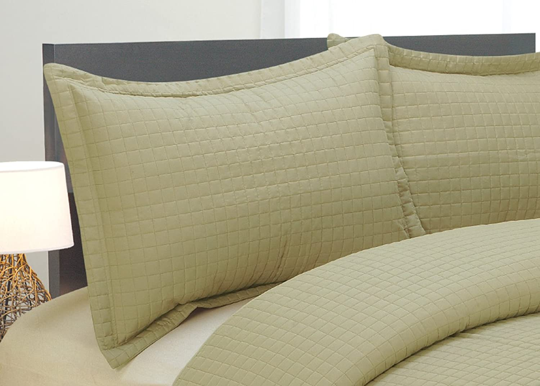 Natural Comfort Luxury Lines Microfiber Quilted Bedding Set, Queen, Green