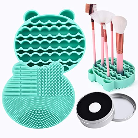Silicon Makeup Brush Cleaning Mat with Brush Drying Holder Brush Cleaner Mat Portable Bear Shaped Cosmetic Brush Cleaner Pad+Makeup Brush Dry Cleaned Quick Color Removal Sponge Scrubber Tool (Green)