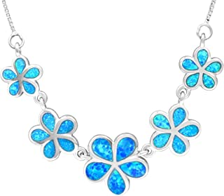 Sterling Silver Five Plumeria Flower Necklace with Simulated Blue Opal