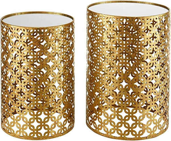 Linon AMZN0341 Alina Round Nesting Tables Set Of 2 Gold