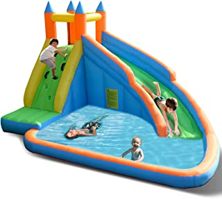 Costzon Inflatable Slide Bouncer, Water Pool with Long Slide, Climbing Wall, Including Oxford Carry Bag, Stakes, Castle Bounce House (No Blower)