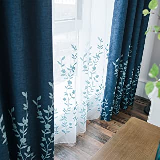 Melodieux Flower Embroidery Sheer Curtains for Bedroom Living Room Window Rod Pocket Voile Drape, 52 by 84 Inch, White/Blue (1 Panel)