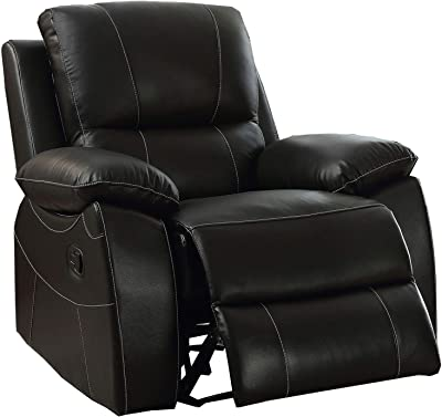 Benjara Faux Leather Upholstered Recliner with Stitched Details, Black