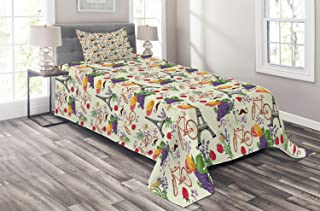 Ambesonne European Coverlet, French Themed Paris Must Have Macarons Wines Grapes Bikes Berries Eiffel Art Print, 2 Piece Decorative Quilted Bedspread Set with 1 Pillow Sham, Twin Size, Multicolor
