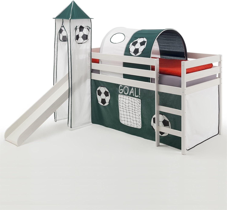 IDIMEX Spielbett Rutschbett Hochbett mit Rutsche Benny, Kiefer massiv wei lackiert 90x200 cm, mit Rutsche Vorhang Turm und Tunnel im Fuball-Motiv dunkelgrün