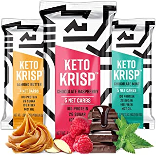 Keto Krisp - Keto Bars, Low-Carb, Low-Sugar - (6 Pack Variety) - Gluten-Free Crispy, Perfectly Delicious, Ketogenic Healthy Diet Snacks and Food