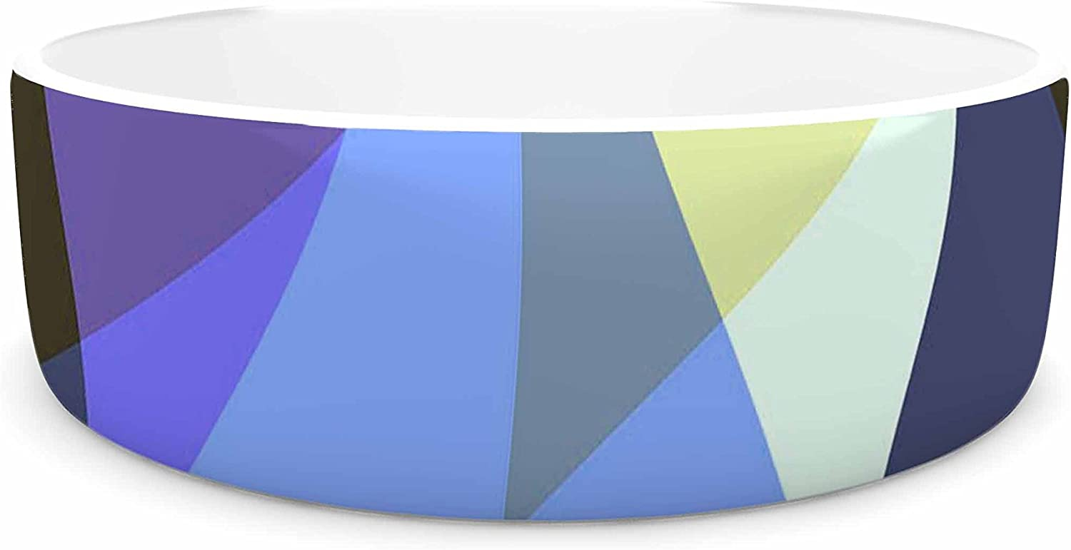 KESS InHouse AlyZen Moonshadow Dream It (bluee) bluee Yellow Digital Pet Bowl, 7  Diameter