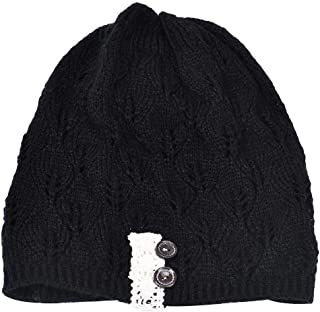 MALLOOM Women Modern Lace Button Leaves Hollow Out Knitting Hat Fashion Accessories Winter Hats