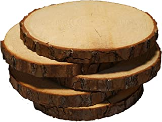5 Pack Round Rustic Woods Slices with Cracks, 9