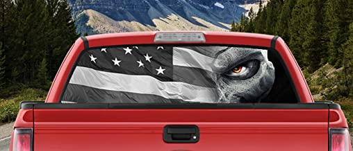 Tactical American Flag Skull with Glowing Eyes in the Shadows Full Color Back window graphic Decal Truck Backscape 66 X 20 Inches