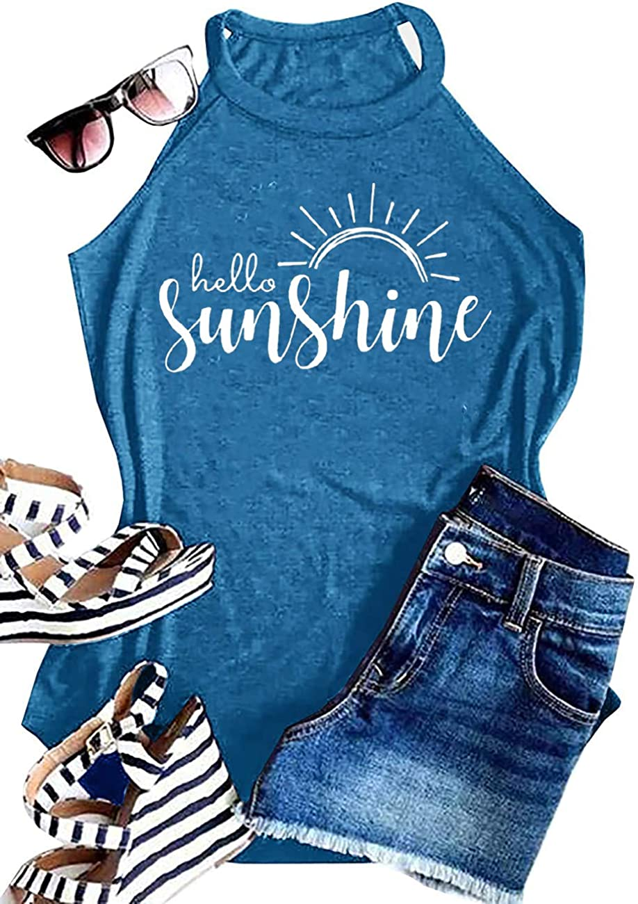 Summer Sunshine and Coffee Tank Tops for Women Graphic Halter Racerback Casual Beach Tee Shirts Cami Tank