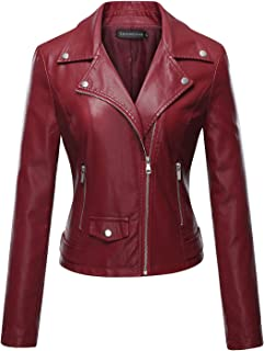 efec63b3120 Tanming Women s Faux Leather Moto Biker Short Coat Jacket